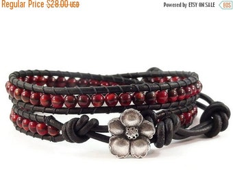 On Sale Leather Wrap Bracelet Red and Black Glass Beads Hibiscus Flower Beaded Jewelry