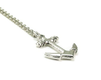 Anchor Necklace Silver Chain Nautical Style