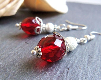 Red and silver drop earrings, sterling silver earrings, Czech glass earrings, red Bollywood style jewelry, gift for her, surgical steel