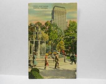 Vintage Post Card, Vintage Memphis Post Card, Ephemera, Post Card, Famous Court Square, Memphis