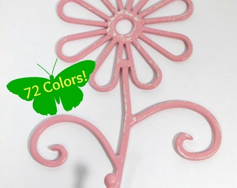 Flower Wall Hook Metal Shabby Chic Sweet Pea Pink Distressed