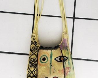 Hand painted funky yellow handbag