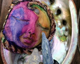 Moon Sculpture in Abalone Shell with Crystals mixed media original art