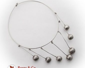 Modernist Choker Necklace Ball Dangles Sterling Silver