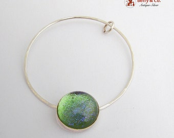 Round Pendant Sterling Silver Art Glass Greenish Blue