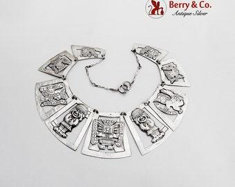 Tribal Figural Link Necklace Hammered Sterling Silver 1930