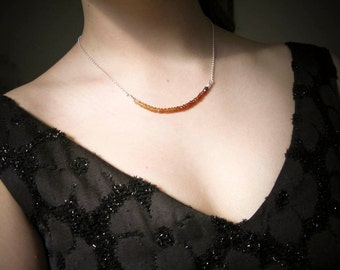 Hessonite Garnet Gemstone Necklace|Choker|Collar| Minimalist| Adjustable Length|Ombre style|