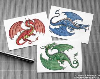 Dragon Postcards, Set of three postcards, Dragon stationery, Dragon invitations, Kids party, Dragons, Red, Green, Blue, Postcards Children