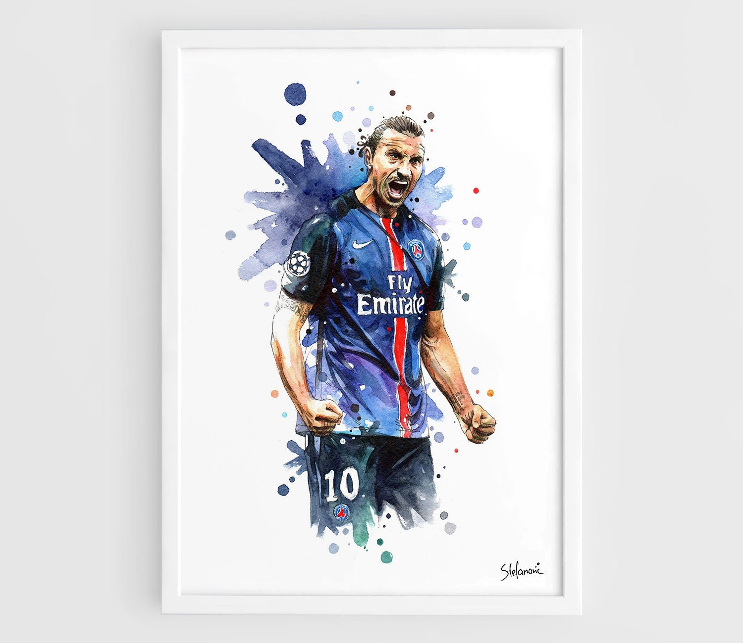 zlatan ibrahimovic psg paris a3 wall art print poster of the. Black Bedroom Furniture Sets. Home Design Ideas