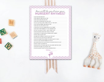 INSTANT DOWNLOAD nursery rhyme baby shower game / nursery rhyme quiz / baby shower game / chevron baby shower game / purple baby shower
