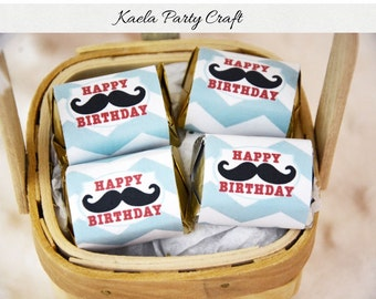 Mustache chocolate wrappers. Mustache birthday. Mustache birthday party. Mustache baby shower. Mustache baby shower decoration