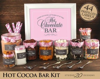 Instant Download Pink Hot Chocolate Bar Kit, Printable Baby Pink Hot Cocoa Bar Kit for Wedding, Baby Shower, Office or Birthday Party 20J