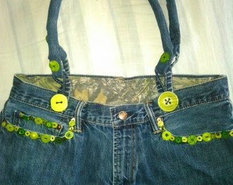 Adorable Jean Denim Purse With Green Button Accents