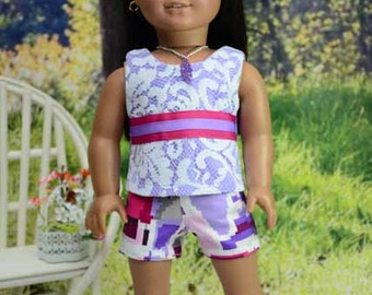 American Girl or 18 Inch Doll SHORTS in Graphic Print Purple Pink White Lace TANK Surprise NECKLACE and Sandals Options