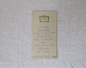 1920's, Antique Vintage French Menu, Dated 6 March 1929, School Reunion Menu, Embossed Green Design on Antique Card