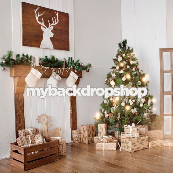 4ft X Rustic Christmas Tree Fireplace Photography Backdrop