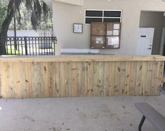 The Renee - 12' 2 tier Rustic or Industrial outdoor Patio Bar