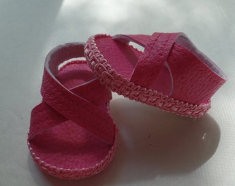 """Pink- 18"""" Doll Sandals-Shown on my american girl doll"""