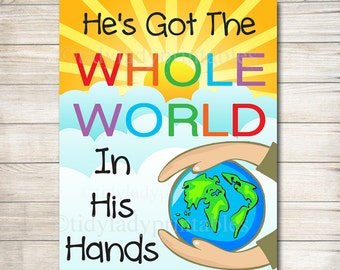 He's Got the Whole World in His Hands, Children's Bible Song, Printable Nursery Wall Art, Sunday School Art Religion Poster INSTANT DOWNLOAD