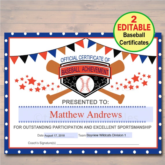 baseball certificates  EDITABLE Baseball Award Certificates INSTANT DOWNLOAD Team