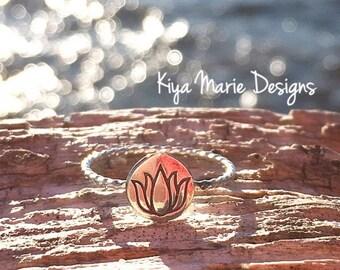 Lotus flower Ring, lotus ring, Skinny band stack ring, Sterling Silver Argentium Silver Stack Rings, Nature flower rings