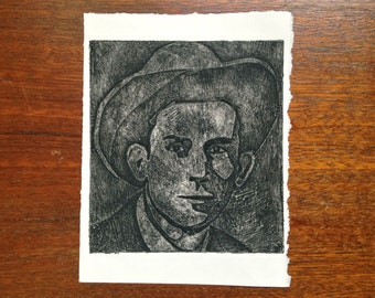 hank williams print - black on white - collagraph print
