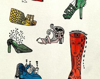 ORIGINAL AQUAREL---aquarel ink drawing--- Crazy Shoes