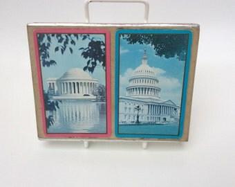 Vintage playing cards Congress two decks Washington DC souvenir Capital Building and Jefferson Memorial color photographs slip cover