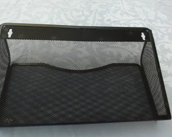 Wall paper organizer , Metal organizer by Eldon. Vintage metal black wall pocket. Gift. mail holder
