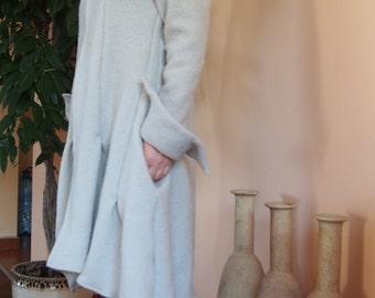 Asymmetric  Coat Wool Playful Coat Wool Knitted Cardigan with  zipper & Nara KP004