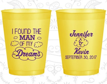 I found the man of my dreams, Promotional Frosted Plastic Cups, Clouds, Yellow Frosted Cups (257)
