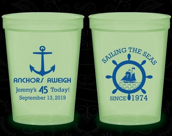 45th Birthday Glow in the Dark Cups, Anchors Aweigh, Nautical Birthday, Anchor Birthday, Glow Birthday Party (20023)