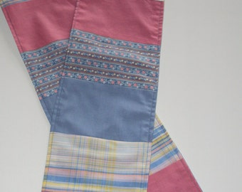Pink and Blue Patchwork Scarf