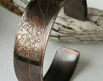 Wildflower Etched Copper Cuff Bracelet