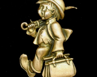 Silson Brooch Pin Boy with Umbrella and Satchel Vintage