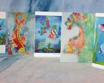 5 Pack Greeting Cards Original Batik Artwork Fish
