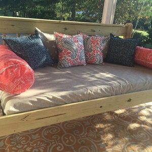 fitted outdoor daybed cover in twin twin xl or full mattress cover customize in premier prints outdoor jackson beech wood tan coral navy