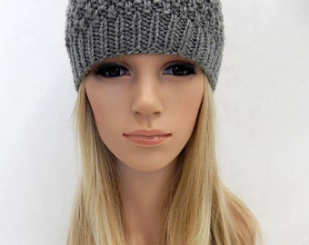 Knit Hat Beanie Handmade... Gray Heather  (Ready to Ship)