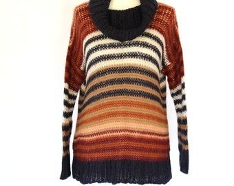 90s Woman Sweater / Striped Winter Sweater /High Collar Sweater / Large Size Sweater