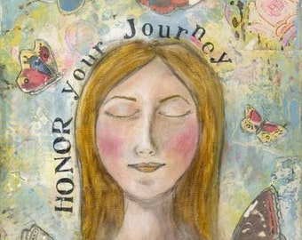 Honor Your Journey, 8x10 print of original mixed-media painting