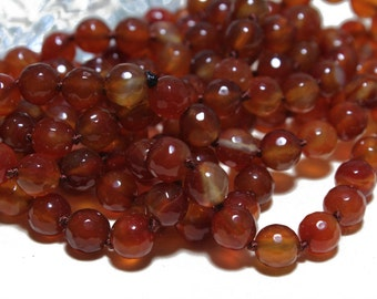 Genuine Faceted Carnelian Round Beads 8mm  6 pcs