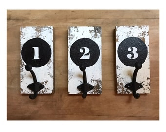 Farmhouse style wooden wall hooks, coat hooks, number, distressed, wall decor, mudroom, organization, office, bedroom, entry way