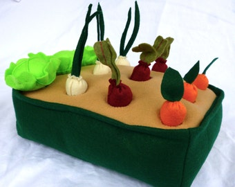 Felt Vegetable Garden Play Set, Felt Garden, Toy Garden, Felt Veggies, Pretend Garden, Kids Christmas Gift, ecofriendly toys