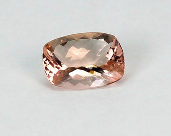 Morganite cushion cut natural gemstone.