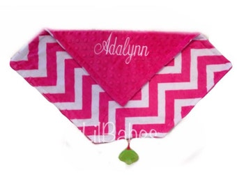 Hot pink chevron minky with pink minky and pink binky holder lovey blanket