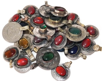 150g Lot of Colourful Jewelled Vintage Kuchi Tribal Coins: Old Ethnic Real Gypsy Coin Jewellery/Jewelry. 150 gram bag.