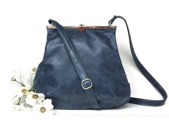 Leather bag blue ,shoulder bag blue,handbag leather blue , strap closure , metal closure