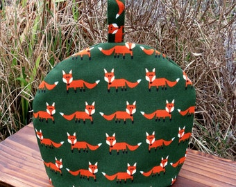 Tea for one!  A whimsical tea cosy, size small.  Fox cosy.