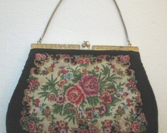 Vintage Tapestry and Bead Evening Purse with Mother of Pearl inlaid frame