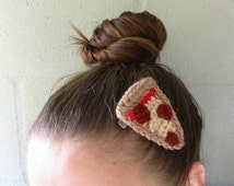 Pizza Hair Clip - Pepperoni Pizza Hair Barrette - Crochet Food Clip